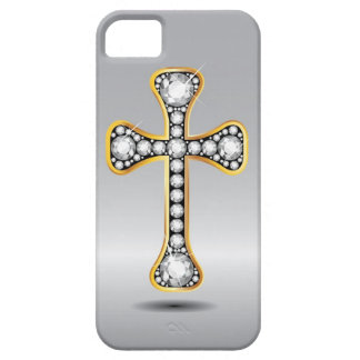 "Christian Cross with ""Diamond"" Stones iPhone 5 Case"