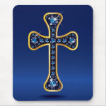 "Christian Cross with Faux-""Sapphire"" Stones Mouse Pad"