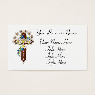 Christian Cross With Flowers Halo Business Card