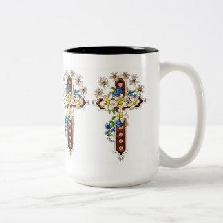 Christian Cross With Flowers Halo Two-Tone Coffee Mug