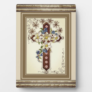 Christian Cross With Flowers Plaque