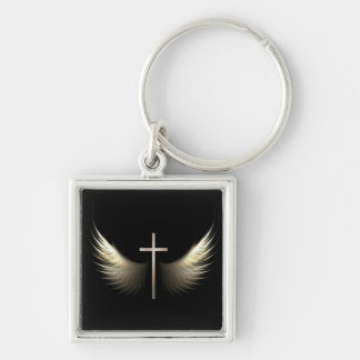 Christian Cross with Holy Spirit Dove Wings Silver-Colored Square Keychain