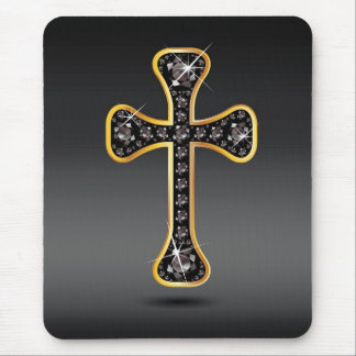 "Christian Cross with ""Onyx"" Stones Mouse Pad"