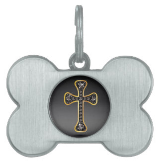 "Christian Cross with ""Onyx"" Stones Pet ID Tags"