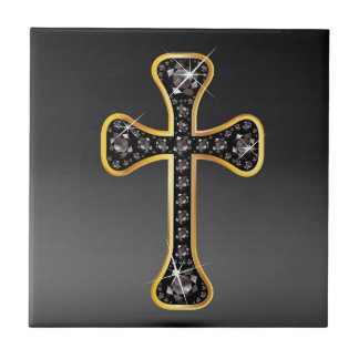 Christian Cross with Onyx Stones Ceramic Tiles
