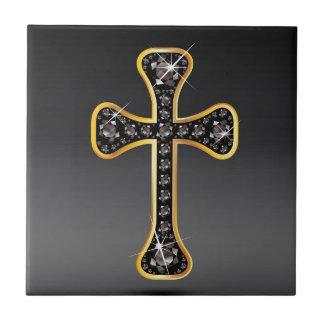 Christian Cross with Onyx Stones Ceramic Tiles