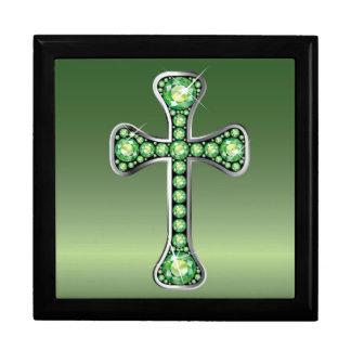 "Christian Cross with ""Peridot"" Stones Gift Box"