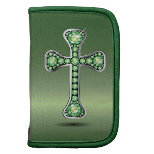 "Christian Cross with ""Peridot"" Stones Organizers"
