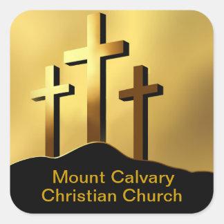 Christian Crosses on Calvary Square Sticker