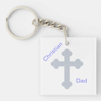 Christian Dad Double-Sided Square Acrylic Keychain
