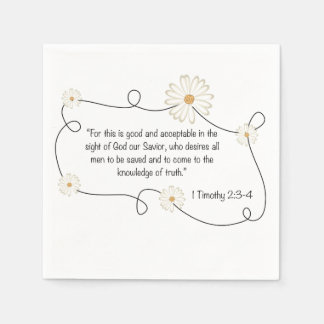 Christian Daisy Flower Bible Quote Disposable Napkins