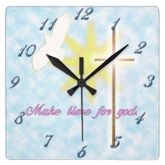 christian dove square wall clock