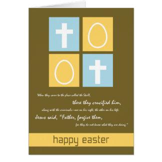 Christian Easter card ~ Cross & Eggs
