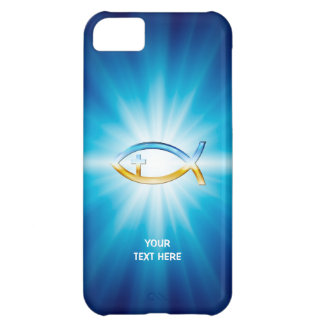 Christian Fish Cross blue background | Unique Gift iPhone 5C Cover