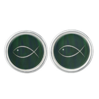 Christian Fish Symbol Dark Green Cufflinks