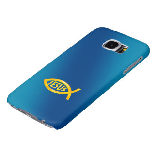 Christian Fish Symbol JESUS on blue background Samsung Galaxy S6 Cases
