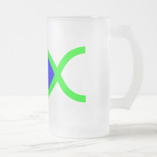 Christian Fish Symbol - LOUD! Blue and Green 16 Oz Frosted Glass Beer Mug