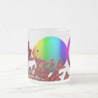 Christian Fish Symbol - Rainbow Ocean 10 Oz Frosted Glass Coffee Mug