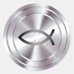 Christian Fish Symbol - silver Round Stickers