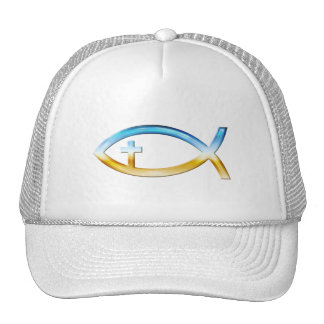 Christian Fish Symbol with Crucifix - Sky & Ground Trucker Hat