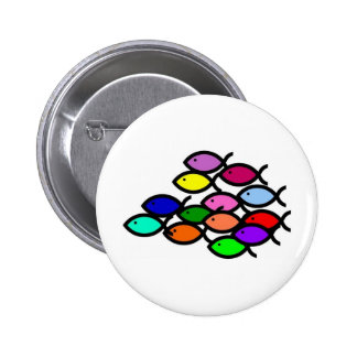 Christian Fish Symbols - Rainbow School - 2 Inch Round Button