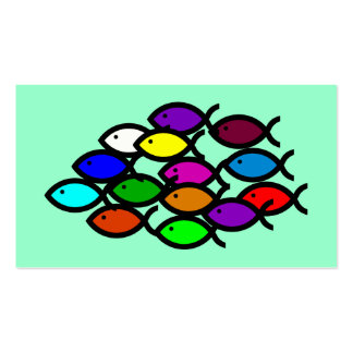 Christian Fish Symbols - Rainbow School - Business Cards