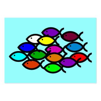 Christian Fish Symbols - Rainbow School - Large Business Card