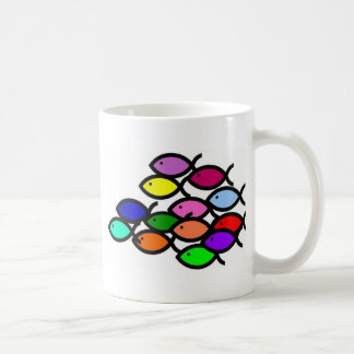 Christian Fish Symbols - Rainbow School - Coffee Mugs