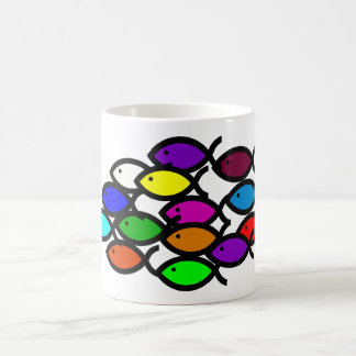 Christian Fish Symbols - Rainbow School - Basic White Mug