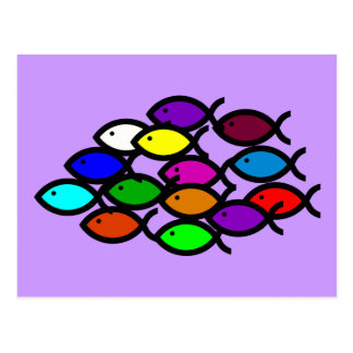 Christian Fish Symbols - Rainbow School - Postcard