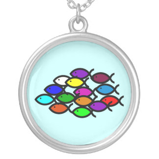 Christian Fish Symbols - Rainbow School - Round Pendant Necklace