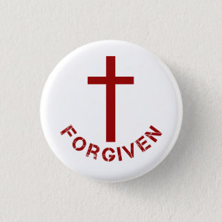 Christian Forgiven Red Cross and Text Design 1 Inch Round Button