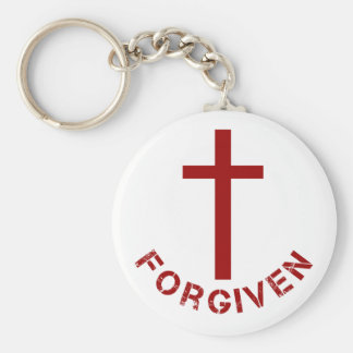 Christian Forgiven Red Cross and Text Design Basic Round Button Keychain