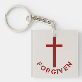 Christian Forgiven Red Cross and Text Design Double-Sided Square Acrylic Keychain
