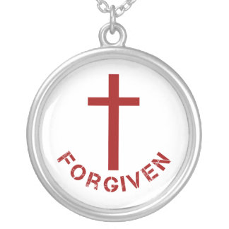 Christian Forgiven Red Cross and Text Design Silver Plated Necklace