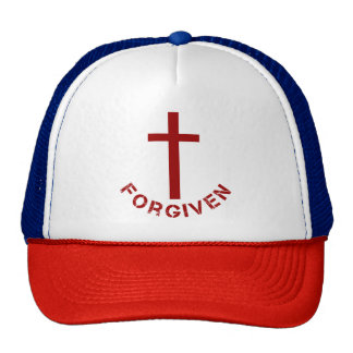 Christian Forgiven Red Cross and Text Design Trucker Hat