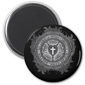 Christian Gift Luther Rose J-rose-black-background 2 Inch Round Magnet