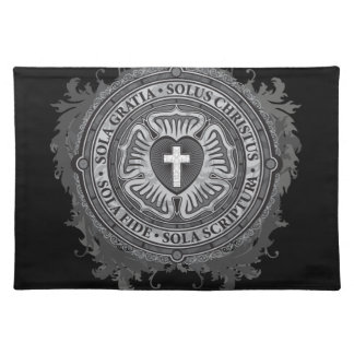 Christian Gift Luther Rose J-rose-black-background Placemat