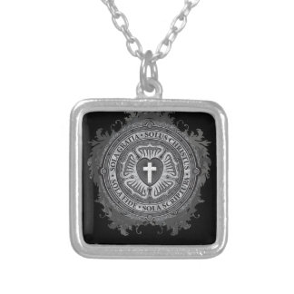 Christian Gift Luther Rose J-rose-black-background Silver Plated Necklace