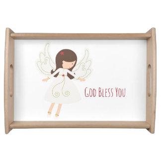 Christian GOD BLESS YOU Folk Angel Serving Tray