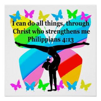CHRISTIAN GYMNAST INSPIRATIONAL BIBLE DESIGN POSTER