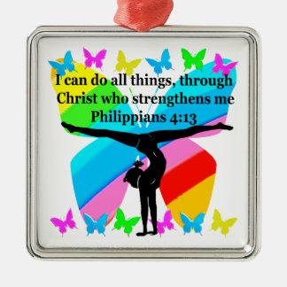 CHRISTIAN GYMNAST INSPIRATIONAL BIBLE DESIGN Silver-Colored SQUARE ORNAMENT