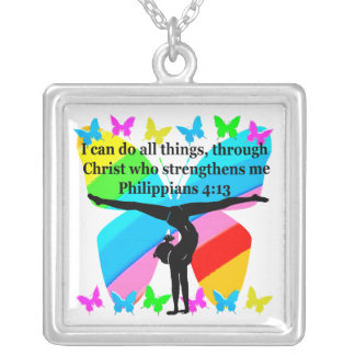 CHRISTIAN GYMNAST INSPIRATIONAL BIBLE DESIGN SILVER PLATED NECKLACE