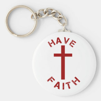 Christian Have Faith Red Cross and Text Design Basic Round Button Keychain