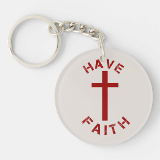 Christian Have Faith Red Cross and Text Design Double-Sided Round Acrylic Keychain