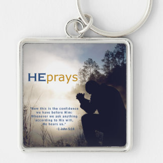 Christian HE PRAYS Silver-Colored Square Keychain