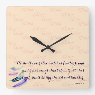 Christian HE SHALL COVER THEE Wall Clock