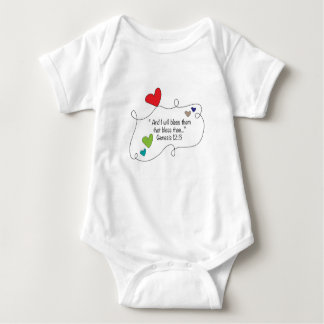 Christian I will bless them that bless thee hearts Baby Bodysuit