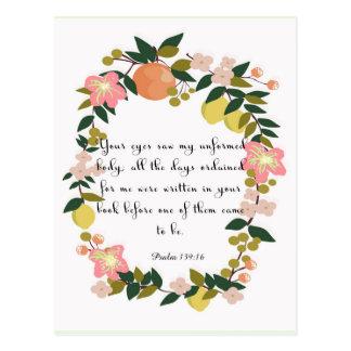 Christian inspirational Art - Psalm 139:16 Postcard