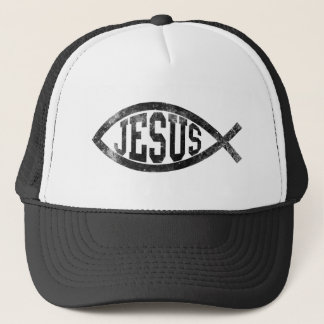 Christian Jesus Fish, Black Ichthys Trucker Hat